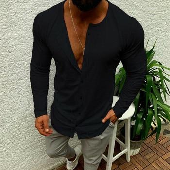 Moda hombres de lujo sólido de manga larga cuello en V camisa botón Casual ajustado Fit elegante camisetas de vestir
