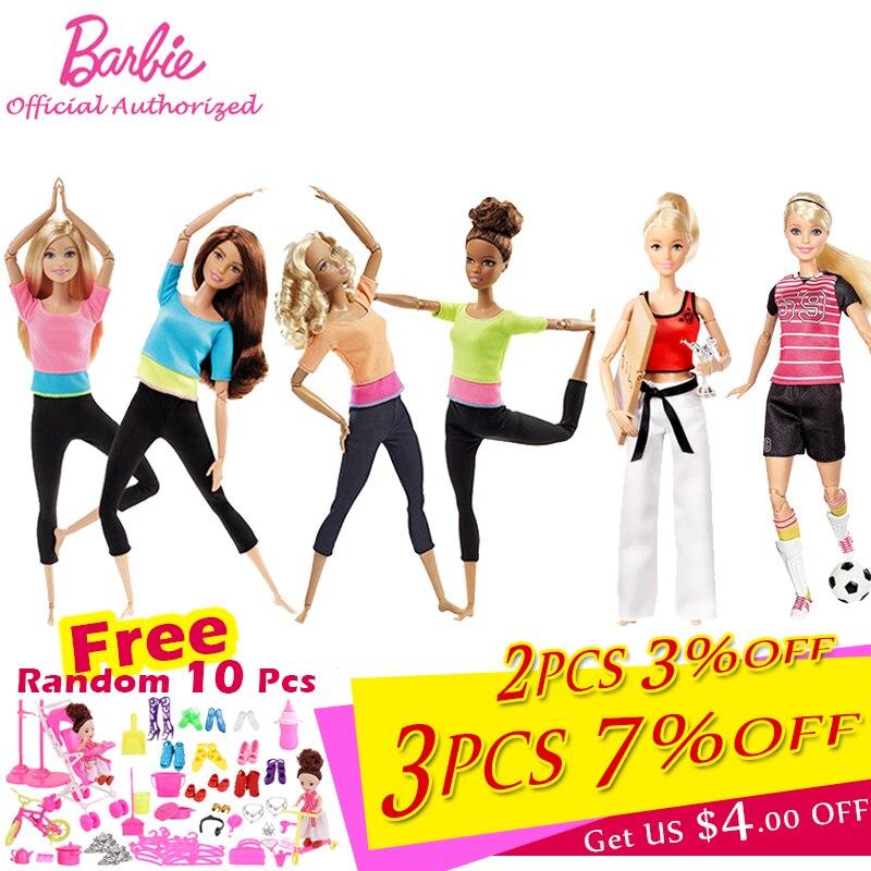 Original da marca barbie bonecas de yoga estilo livre fingir brinquedo móvel corpo barbie bebe renascer diferentes acessórios roupas dhl81