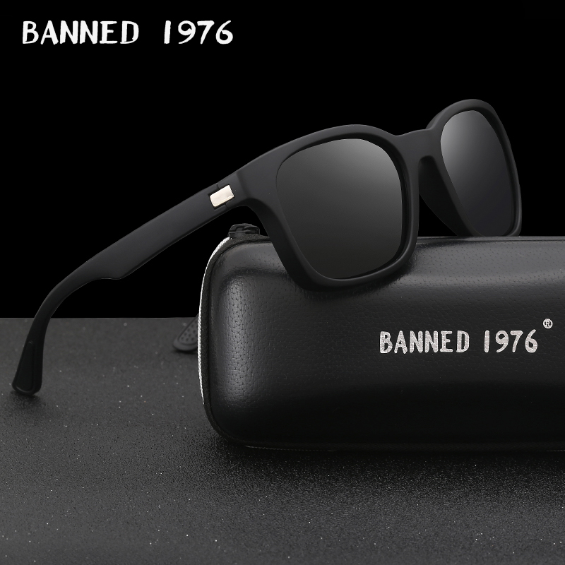 BANNED 1976 Fashion Men Polarized Sunglasses women Driving Mirrors Points matte Black Frame Eyewear Male Sun Glasses UV400 image
