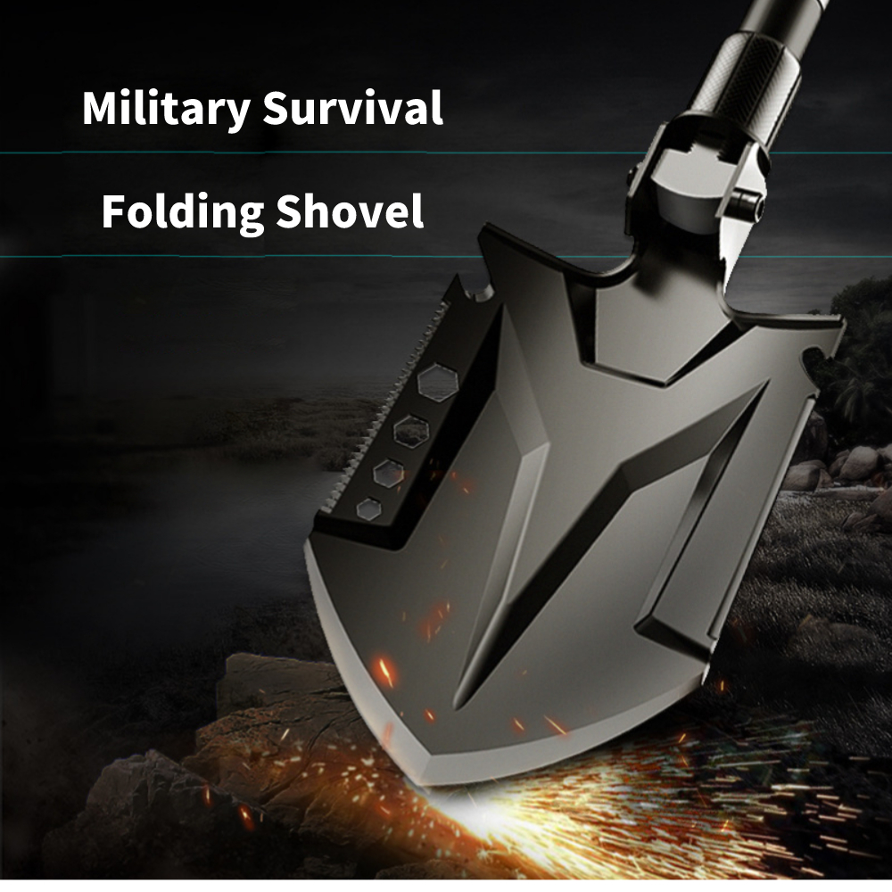 AMKOY 84cm Patented Outdoor Shovel Survival Tactical Multifunctional Shovel Folding Tools Garden Camping Equipment Army Tool
