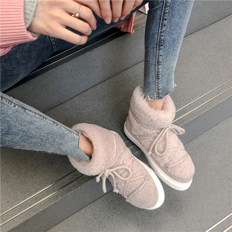 Sweet Women Wool Cow Suede Ankle Boots Female Big Size Snow Boots Dancing Casual Shoes Woman Newest Flats Platform Boots 34