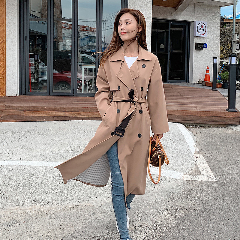 Fashion women solid loose comfortable   trench   new arrival autumn winter korean double breasted temperamental trend outerwear coat