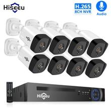 Hiseeu Kit de sistema de seguridad CCTV NVR POE 8 canales, 1080P, H.265, cámara IP de grabación de Audio de 2.0MP, juego de vigilancia de vídeo de exterior impermeable