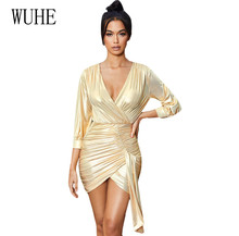 WUHE Glitter Irregular Package Hip Dress Women Sexy Deep V Neck Tie-up Pleated Short Female Hollow Out Bling Party Dresses