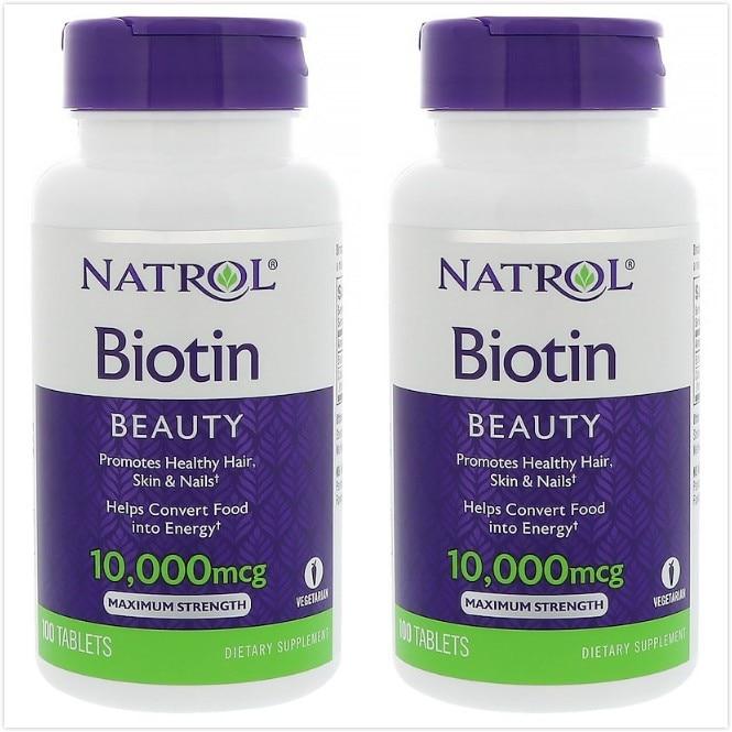 2pcs Natrol Biotin -- 10000 Mcg Biotina Cabello Biotin For Hair Biotine 100 Tablets
