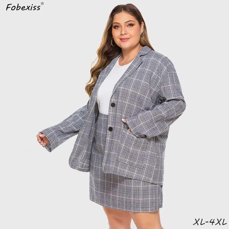 Plus Size Plaid Skirt Suits Women 4XL Grey Autumn Formal Blazer Slim High Waist Single Breasted Suits 2020 Fashion Blazer Suits