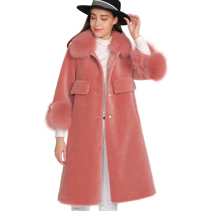 MAOMAOFUR Wool Coat Women Real Fox Fur Collar Cuff Warm Outwear Ladies New Fashion Long Style  Genuine Sheep Fur Jacket