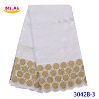 NIAI-tela de encaje africano para 100%, tejido de encaje francés suizo de alta calidad, bordado de gasa, 5 yardas, XY3042B-3 de boda, 2020