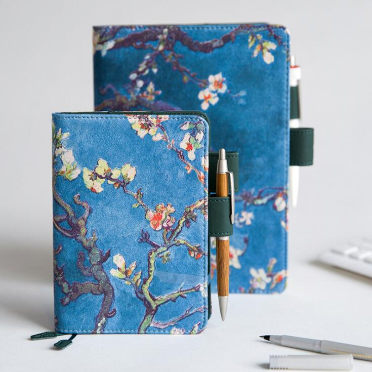 2020 Sharkbang A5 A6 Van Gogh Apricot Flower Diary Notebook Planner Hardcover Bullet Journal Monthly Note Book Office Agenda