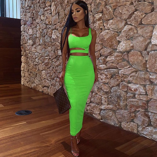 Women Summer Fashion 2020 2Pcs Set Crop Top Sexy Hollow Out Buttock Skirts Green Orange Two Piece Outfits Sexy Sets Ladies Wear