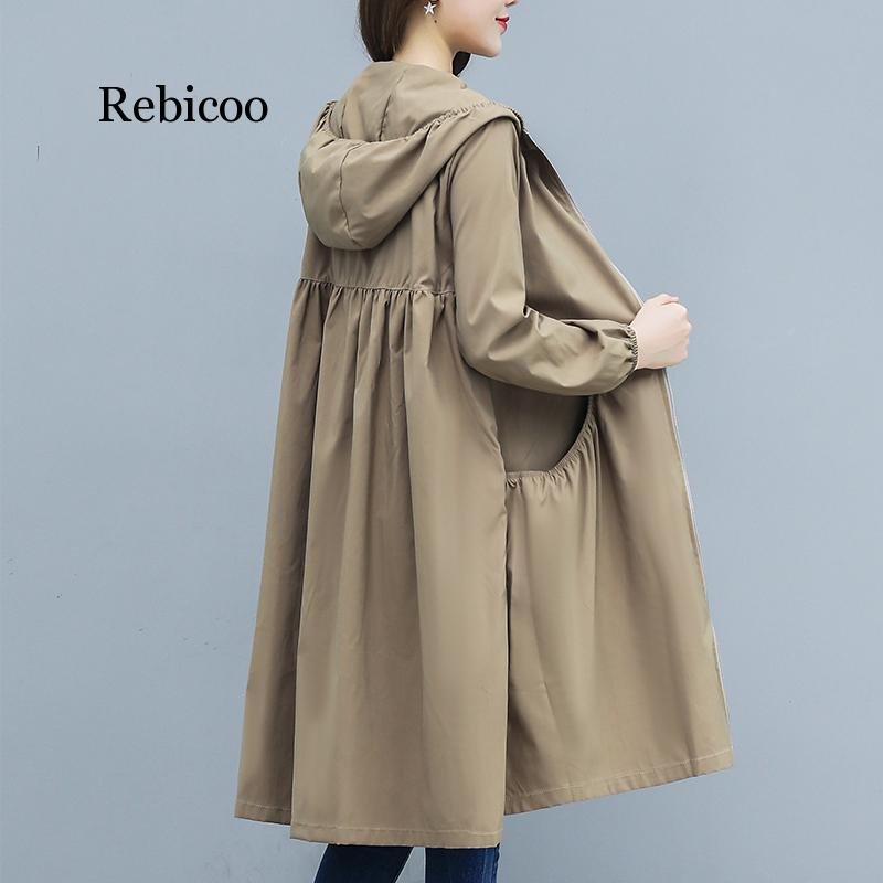 Spring And Summer New Hooded Straight Trench Coat Women's Long Loose Size Joker Coat Zipper Womens Trench Coat