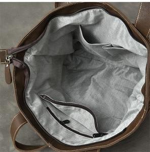 Image 5 - PNDME سعة كبيرة خمر جلد أصلي للرجال حمل حقيبة عارضة بسيطة جلد البقر المتضخم التسوق حقيبة كتف حقيبة يد فاخرة