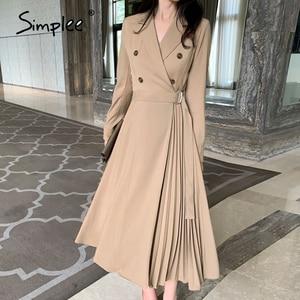 Image 3 - Simplee Vintage pleated belt plaid dress women Elegant office ladies blazer dresses Long sleeve female autumn midi party dress