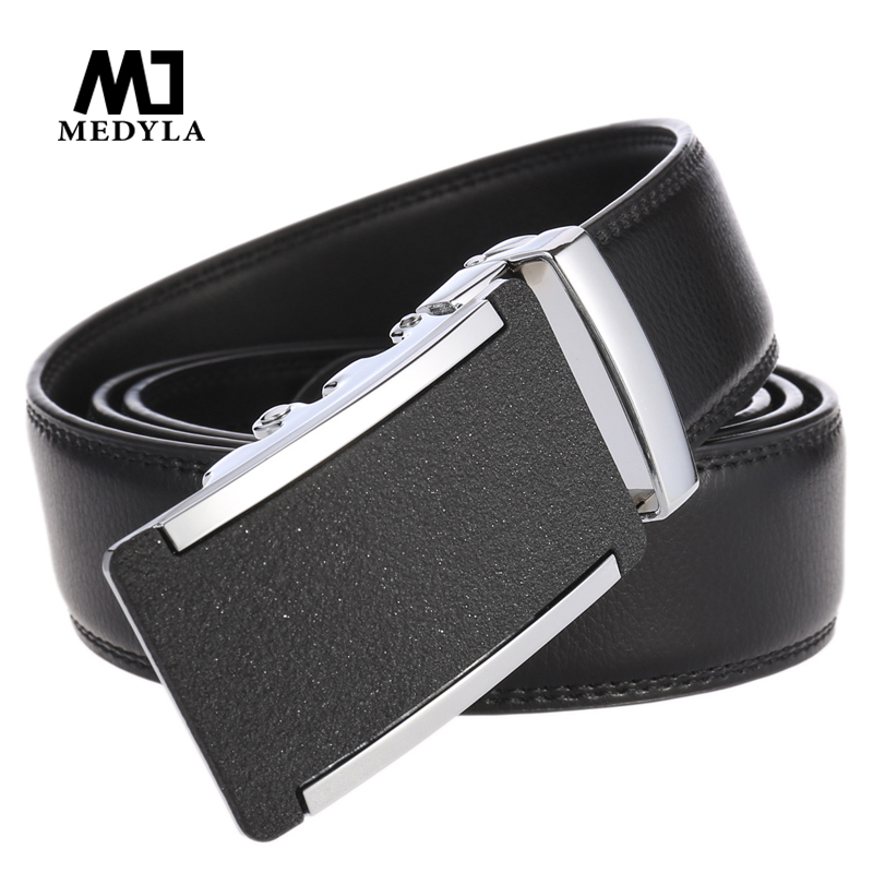 MEDYLA men s belt high quality middle no sandwich leather automatic buckle business belt fashion luxury
