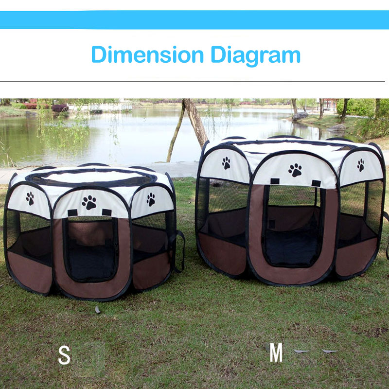 <font><b>Portable</b></font> Pet <font><b>Dog</b></font> Playpen Folding Park Cage House Puppy <font><b>Kennels</b></font> Octagon Fences for Small Large <font><b>Dog</b></font> Cat Tent Bed Delivery Room image