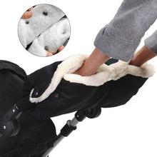 Baby Warm Stroller Gloves Winter Pushchair Hand Muff Thick Fleece Gloves Stroller Accessories Waterproof Pushchair Fur Mittens