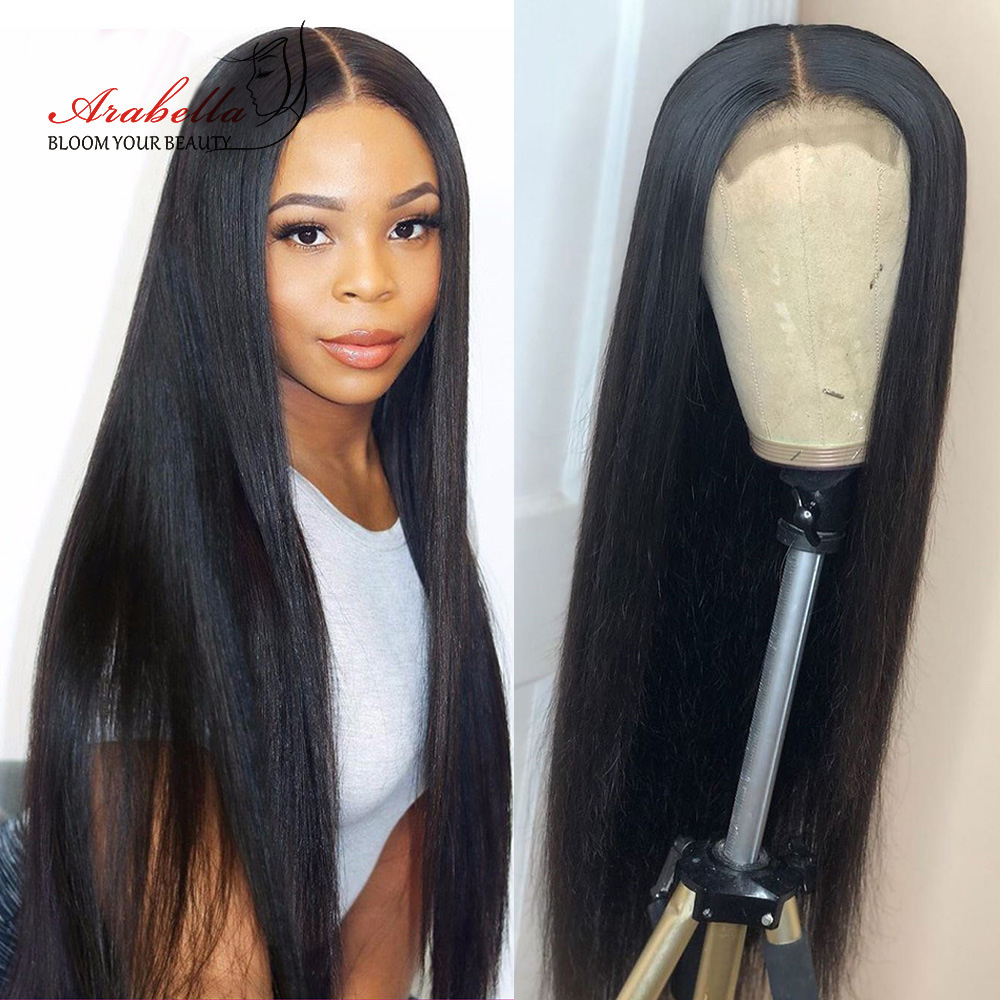Hair Straight Lace Closure Wig With Baby Hair 100%  Wigs Pre Plcuked Bleached Knots Arabella  Lace Wigs 3