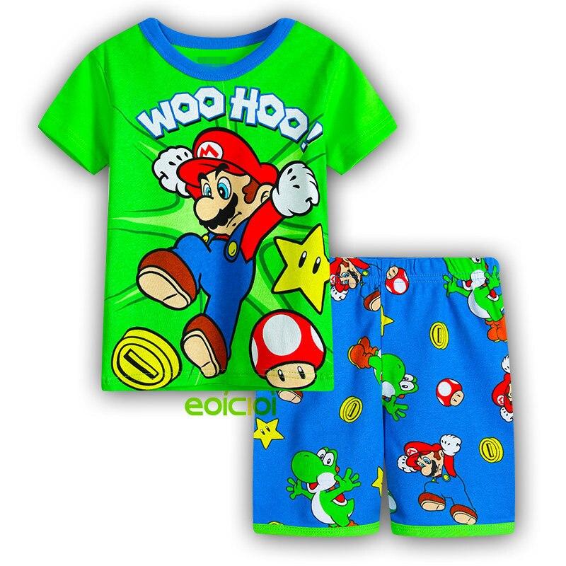 Kigurumi Summer Kids Animal Batman Spiderman Pajamas Set Cotton Short Sleeve Boys Girls Home Clothes Children Dinosaur Pyjamas