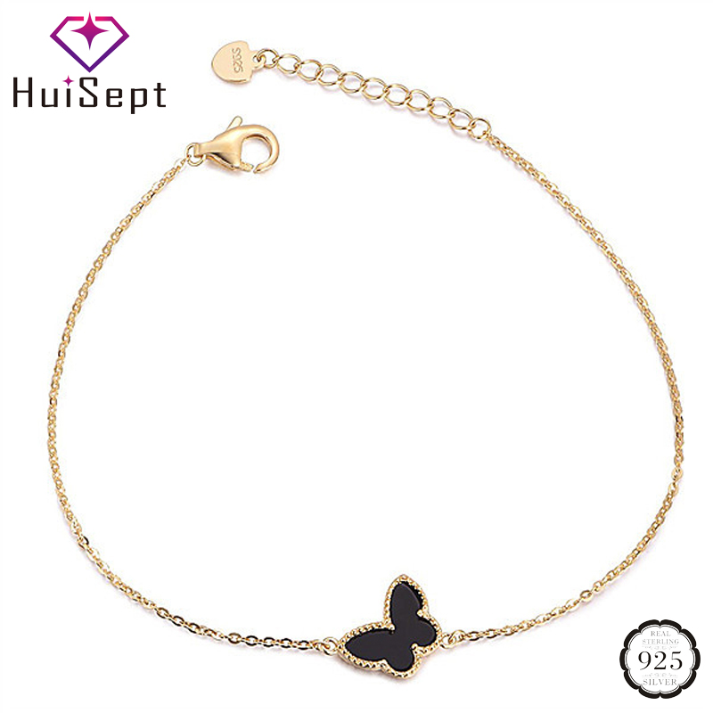 HuiSept Fashion Gold Bracelet for Girl 925 Silver Jewelry Butterfly Shaped Bracelets for Female Wedding Party Ornament Wholesale