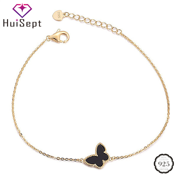 HuiSept Fashion Gold Bracelet for Girl 925 Silver Jewelry Butterfly Shaped Bracelets Female Wedding Party Ornament Wholesale - discount item  48% OFF Fine Jewelry
