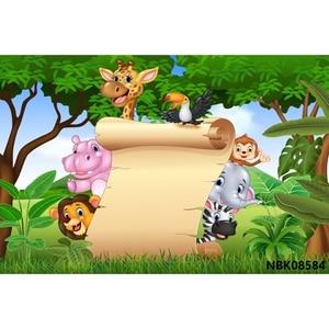 Image 5 - ג ונגל 7x5ft ספארי מסיבת יום הולדת אישית מילות שיחת וידאו פוסטר תינוק דיוקן תמונה תפאורות רקע צילום