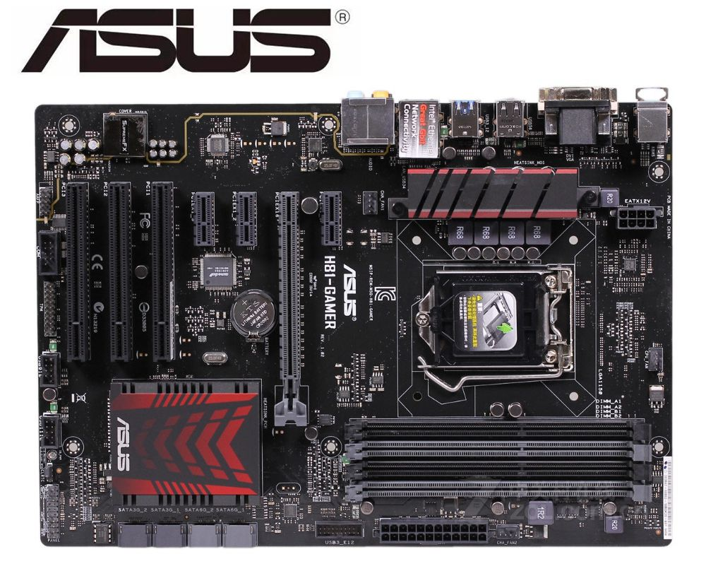 ASUS H81-GAMER desktop motherboard for <font><b>intel</b></font> LGA <font><b>1150</b></font> DDR3 for i3 <font><b>i5</b></font> i7 cpu 16GB H81 used mainboard PC boards image