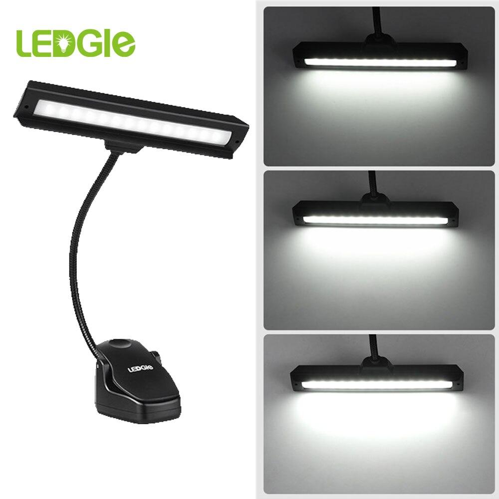 LED USB Musik Stehen Licht Lesen Lichter Clip auf Lampe 14 LEDs Wiederaufladbare Beleuchtung 6500K Tisch Lampen mit Flexible schreibtisch Laterne