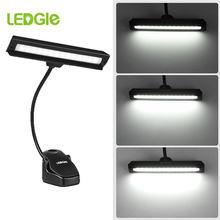 Ledgle recarregável música suporte luz 14leds luz de leitura led usb clipe lâmpadas lâmpada mesa flexível lanterna para presente músico