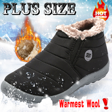 KAMUCC New Fashion Women Winter Mens Shoes Solid Color Outdoor Plush Snow Boots Warm Waterproof Ski Size 35 -47