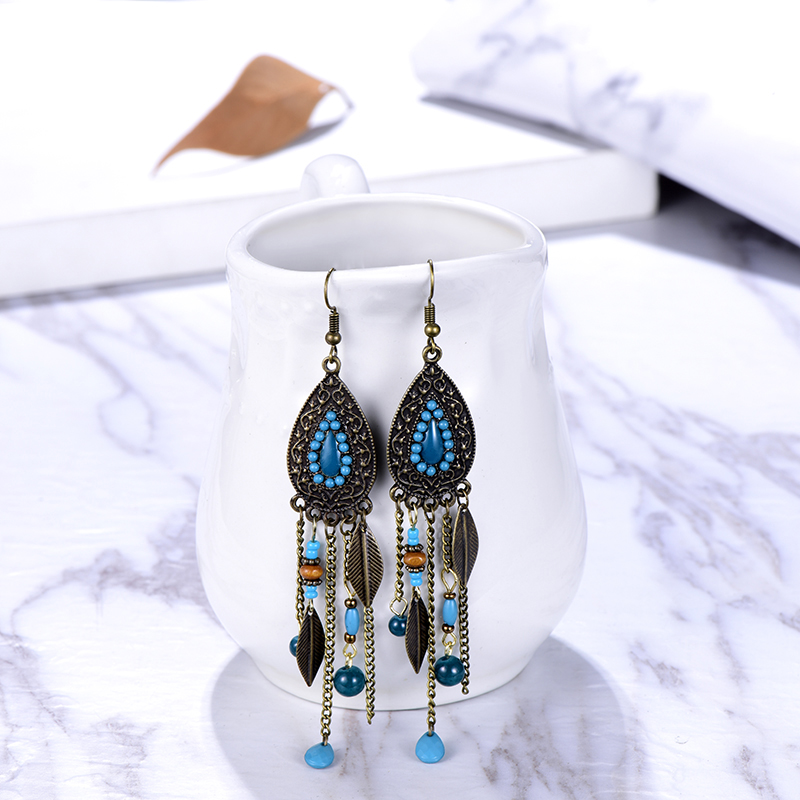Bohemian Vintage Drop Dangle Long Earrings for Women Handmade Boho Jewelry Ethnic Leaf Acrylic Wood Beads Chain Earings Brincos