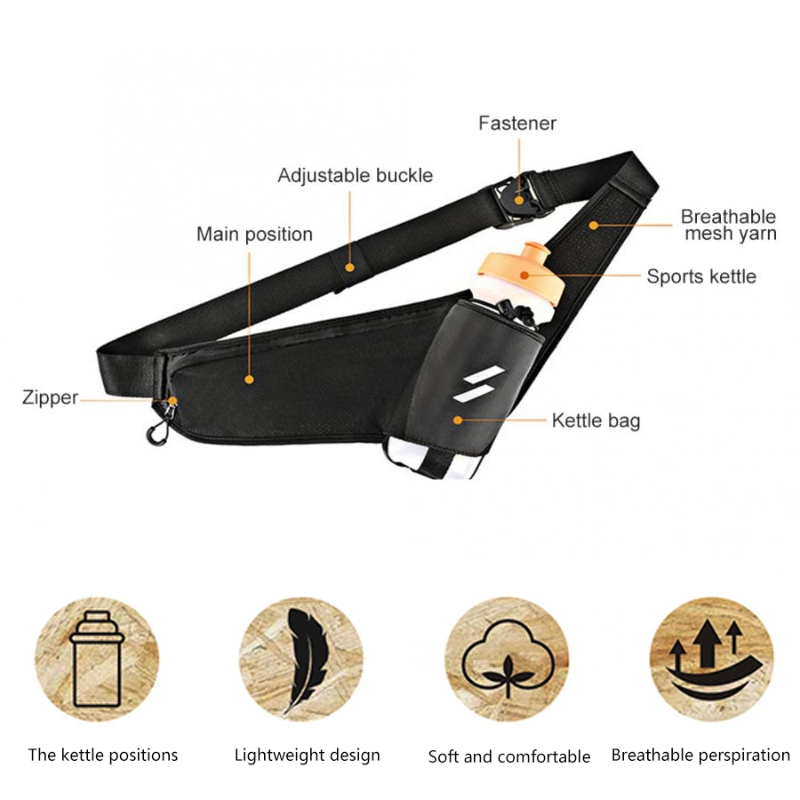 Nylon Cover Pearl Cotton Filling Sports Water Bottle Waist Bag Bicycle Bike Cycling Running Climbing Kettle Pack Belt