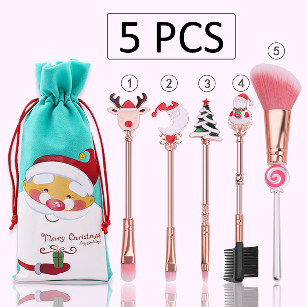 Christmas Candy Makeup Brush Old Man Elk Cute Mini Makeup Kit Soft And Silky Cartoon BTS Style VEEK Esthetic Salon Store