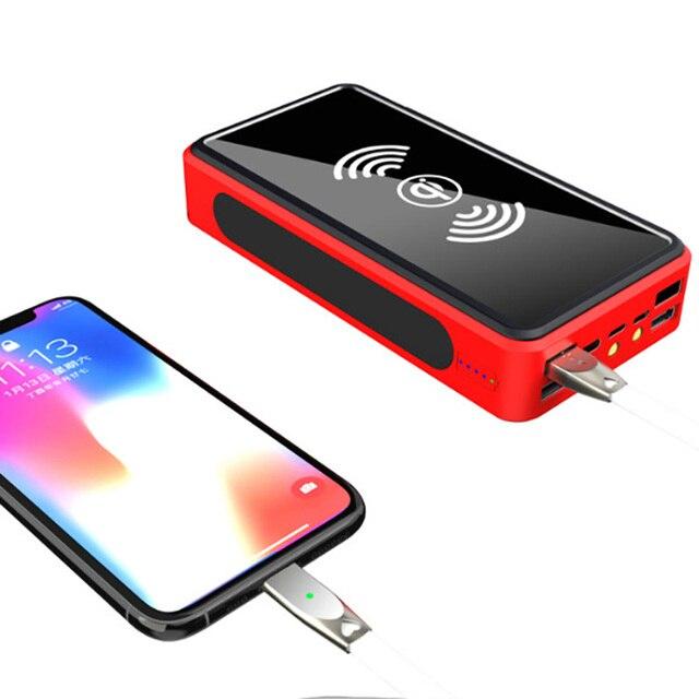 Wireless Power Bank 30000 mAh Powerbank 4 USB แบบพกพา External Charger Pack สำหรับ Xiao Mi Mi 3 iPhone poverBank