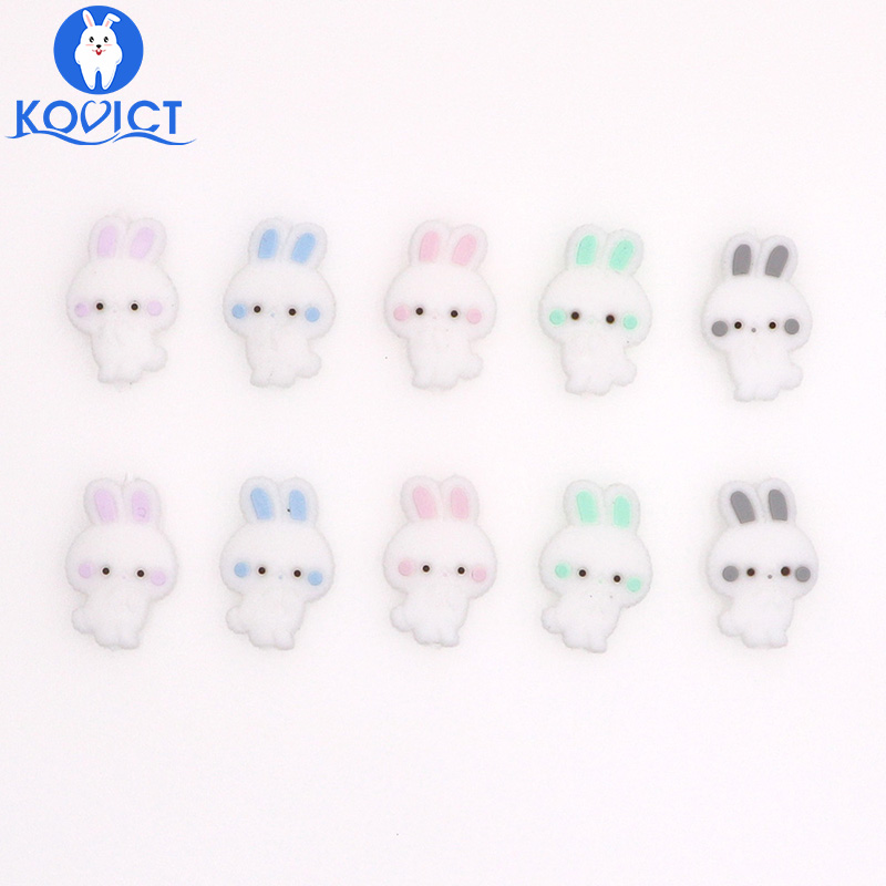 Kovict 5Pcs Mini Rabbit Silicone Beads Food Grade Silicone Bead Baby Teething Pendant BPA Free Cute Bunny Baby Teether Toys