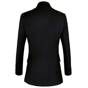 Image 3 - Shenrun גברים חליפות Slim Fit חדש אופנה חליפת טור כפתורים כפול שיא דש חיל הים כחול שחור חתונה חתן מסיבת נשף סקיני תלבושות