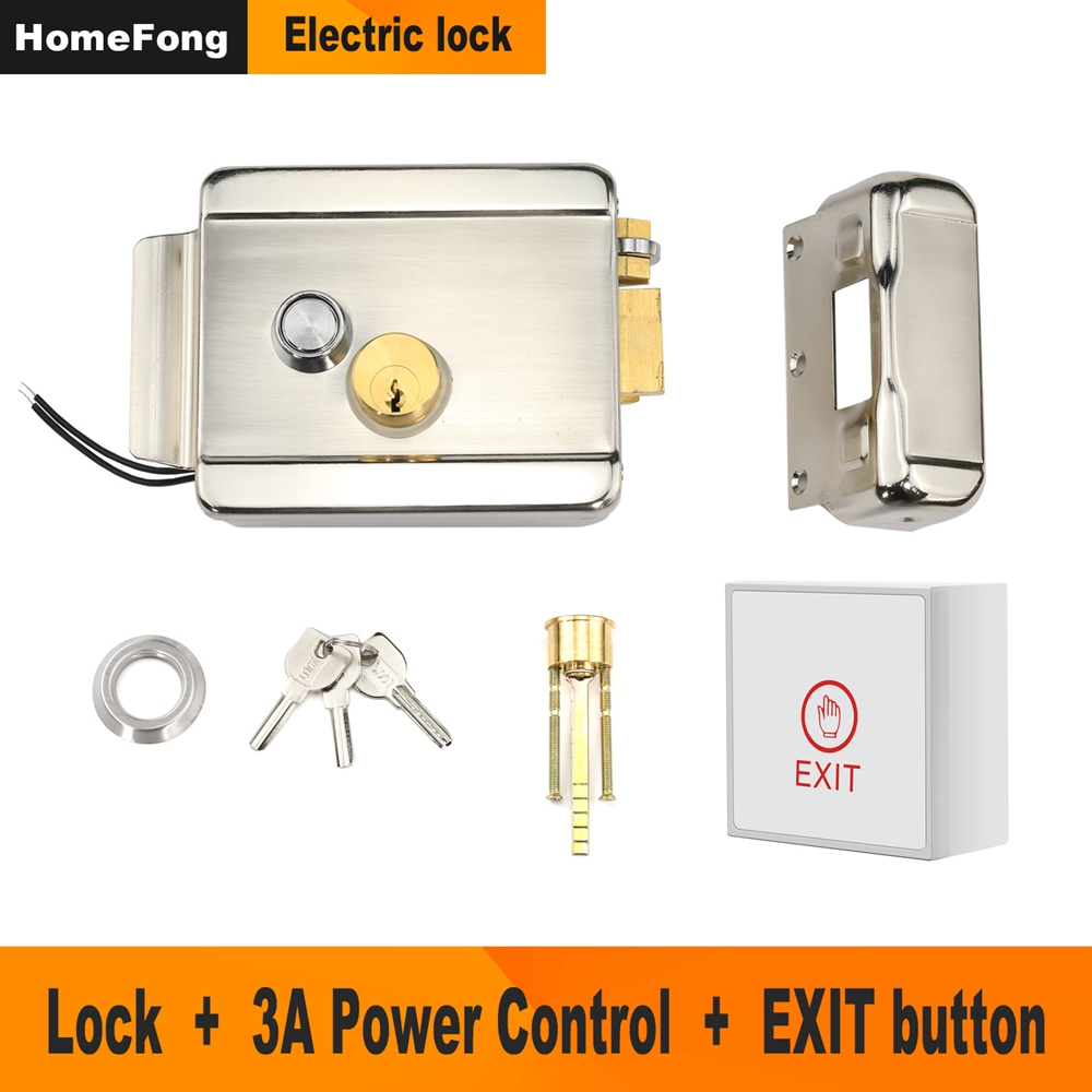 Homefong Metal Electric Lock for Gate Home Intercom Video Door Phone Door Access Control System Kit with 3A Power Supply Control