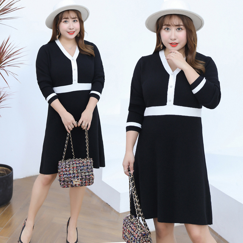 2018 Winter New Products Plus-sized Extra Large Sweater Dress Large GIRL'S Knitted Dress Manufacturers A Generation Of Fat 7129