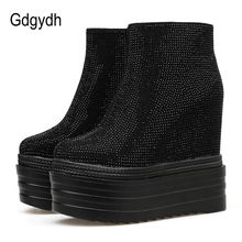Gdgydh Platform High Heels Ankle Boots Shoes Women Crystal Wedding Shoes Bride Black Fashion Party Shoes Female Good Quality women wedding shoes ivory pearl peacock party dress shoes fashion ladies shoes bride platform shoes 2017 new arrival