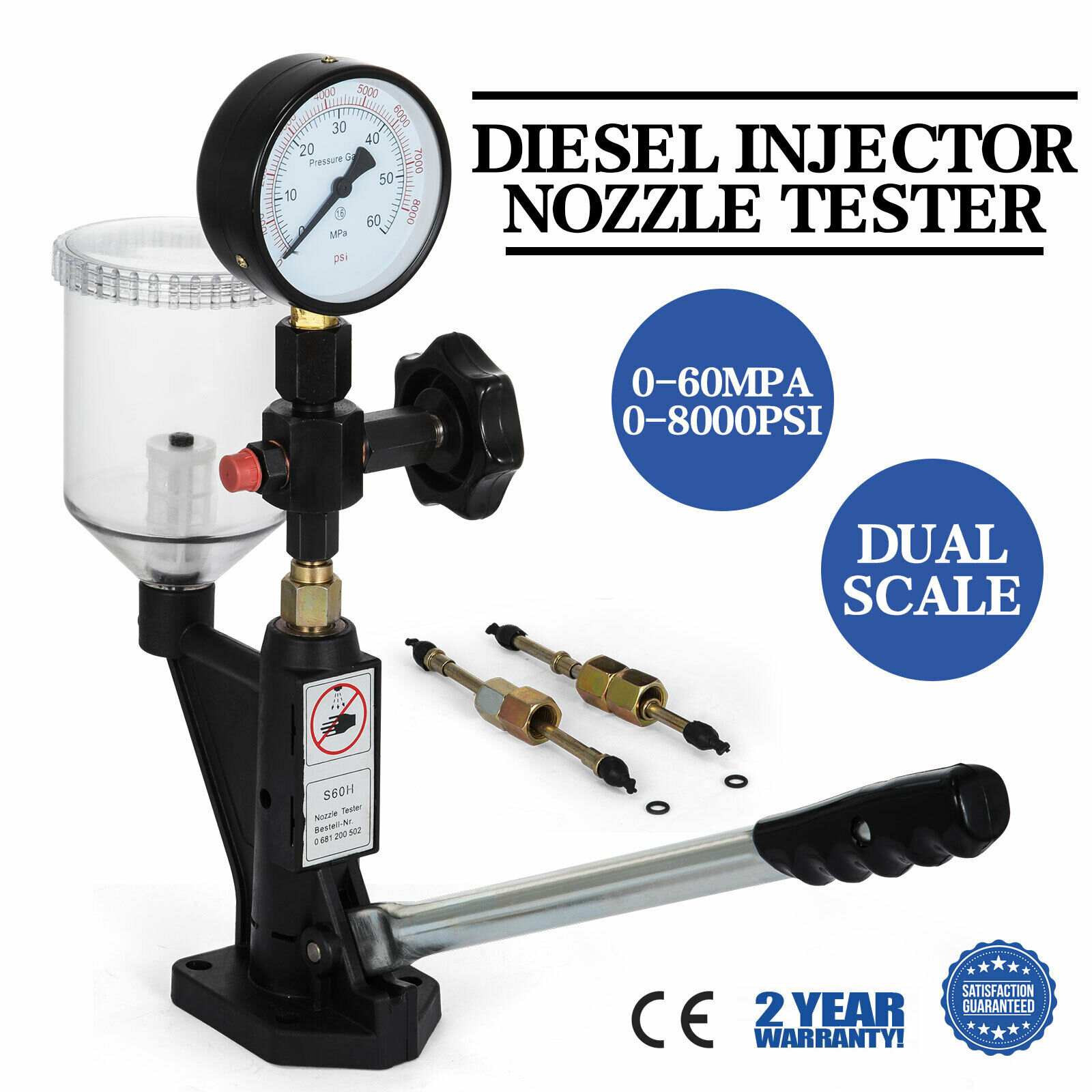 600-8000 PSI BAR Diesel Pop Pressure Tester Injector Nozzle Tester Dual Scale