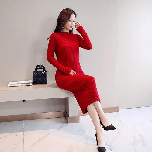 Женское платье-свитер, корейская мода, женские вязаные платья, зимний женский кардиган, облегающее платье, элегантные женские свитера, платья, Vestido платье женское вязаное платье платье женское трикотажное платье - Цвет: Red