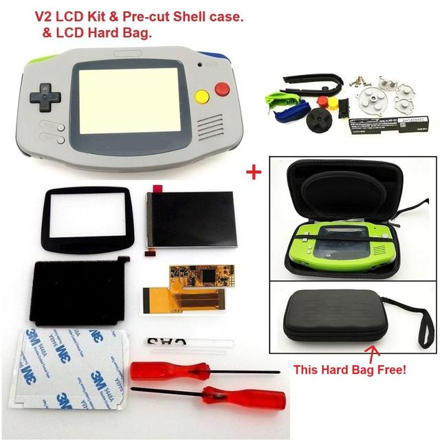 $ US $39.74 V2 IPS Screen LCD Kits for GBA Backlight LCD Screen 10 Levels Brightness LCD V2 Screen For GBA Console And pre-cut Shell case