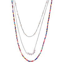Bohemia Style Three Layers of Colorful Pearl Necklace Multilayer Neck Chain for Women