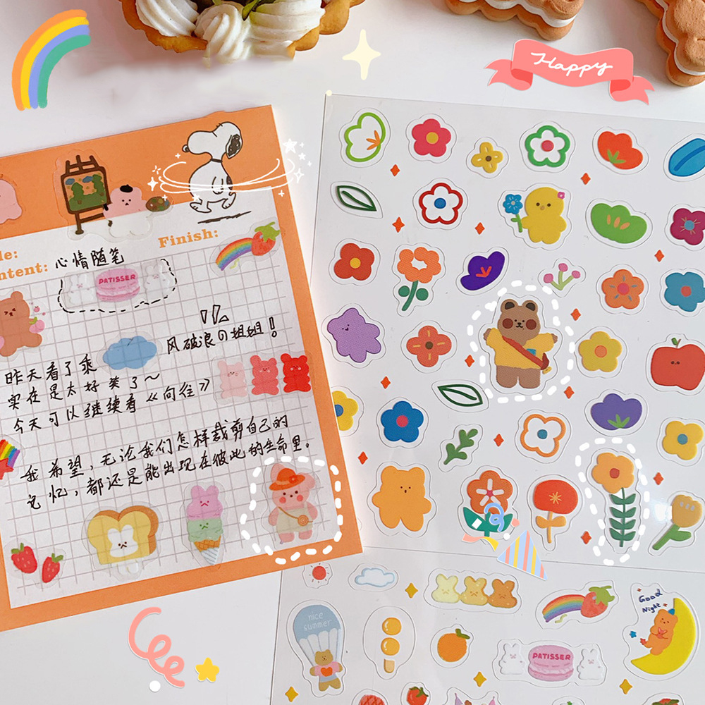 INS Korean cartoon candy bear flower rainbow sticker DIY scrapbook label diary photo album sticker DIY toy stationery decoration