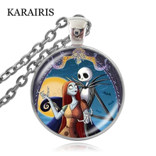 KARAIRIS New Fashion Jack and Sally Nightmare Necklace Nightmare Before Christmas Necklace Glass Cabochon Pendant Jewelry