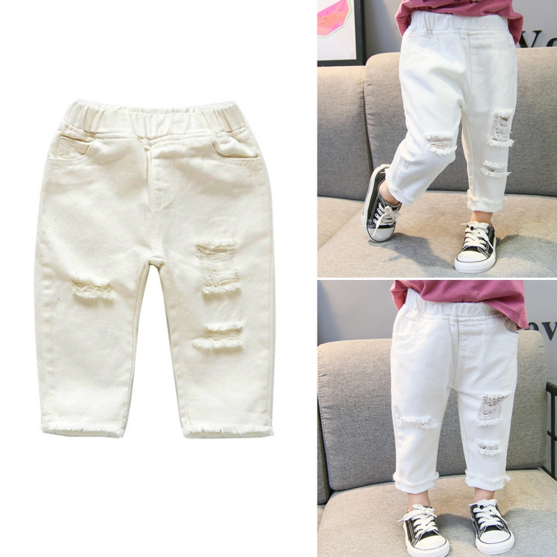 Kid Jeans For Boys Girls Mid-Waist Casual White Denim Jean For Kids 1-7 Years Old Solid Color
