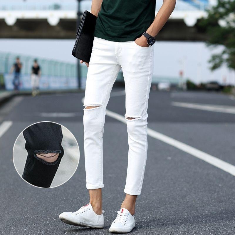 Knee With Holes Jeans Men Autumn White Skinny Capri Pants Men's Fashion Korean-style Slim Fit 9 Points Pencil Pants