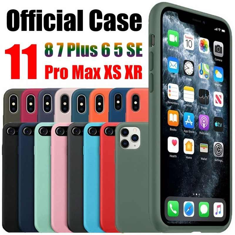 Official original case for iphone X 7 8 Plus 6 6s cover for apple iPhone 11 Pro Max Xs XR Liquid silicone case with retail box