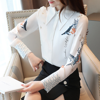 Chiffon Blouses Spring 2020 New Womens Shirts Print Loose Button Long-sleeved Feminine Tops 805H