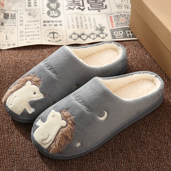 Cute Hedgehog Women Winter Home Slippers Cartoon Animal Slip On Soft Winter Warm House Shoes Men Women Slippers Indoor Bedroom 3