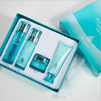 LAIKOU 4pcs/Lot Hyaluronic Acid Moisturizing Skin Care Set Cleanser+Toner+Emulsion+Face Cream Anti Aging Anti-Wrinkle Facial Set hyaluronic acid moisturizing anti wrinkle lotion emulsion 1000g skin care hospital equipment wholesale